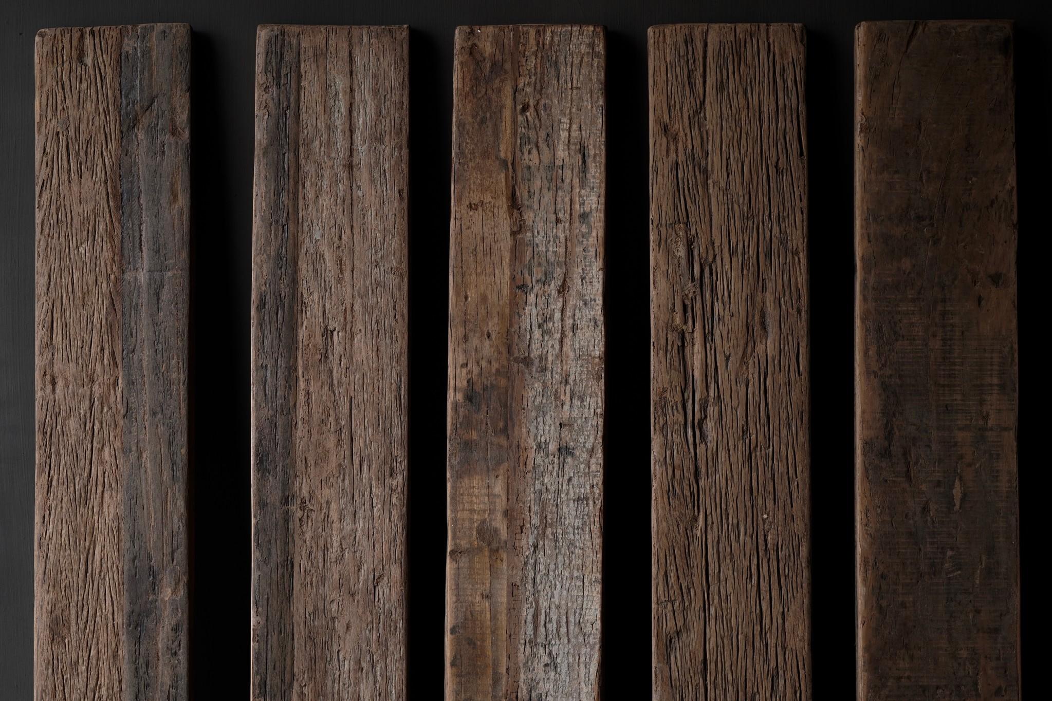Oud driftwood houten wandplank/ muur plank  met ijzeren steunen 140cm-3