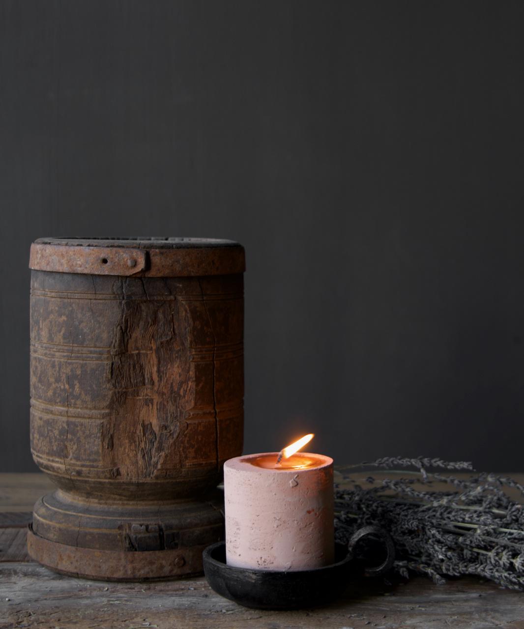 Schmiedeeisen Kerzenhalter mit Ohr,-1