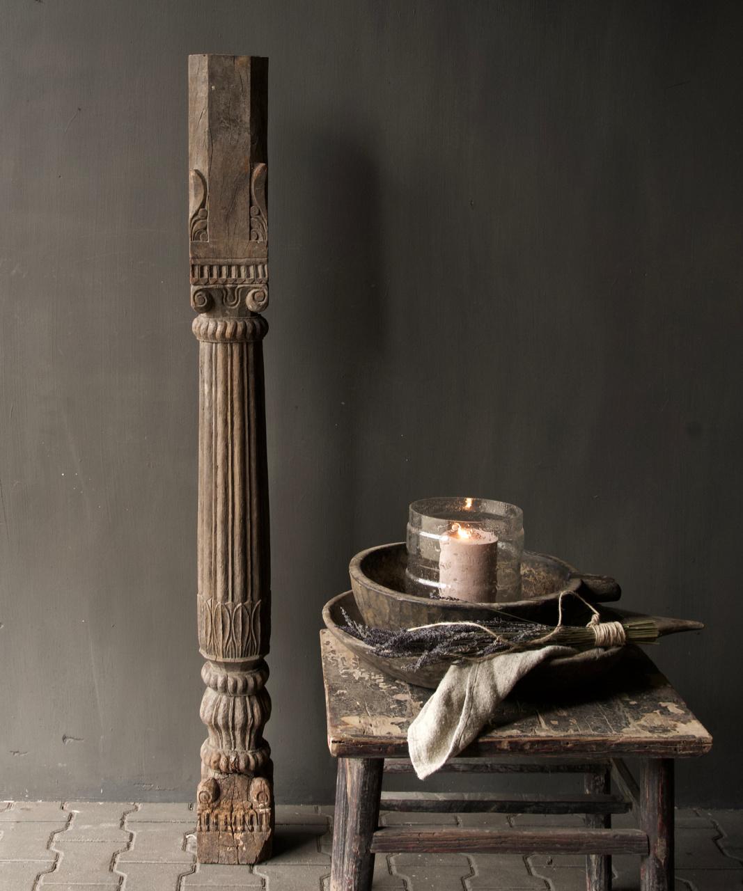 Authentieke Indisch Houten pilaar-4