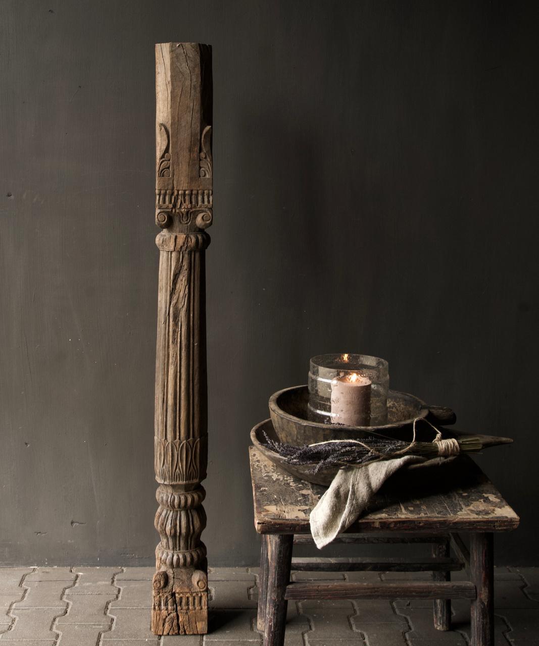 Authentieke Indisch Houten pilaar-6