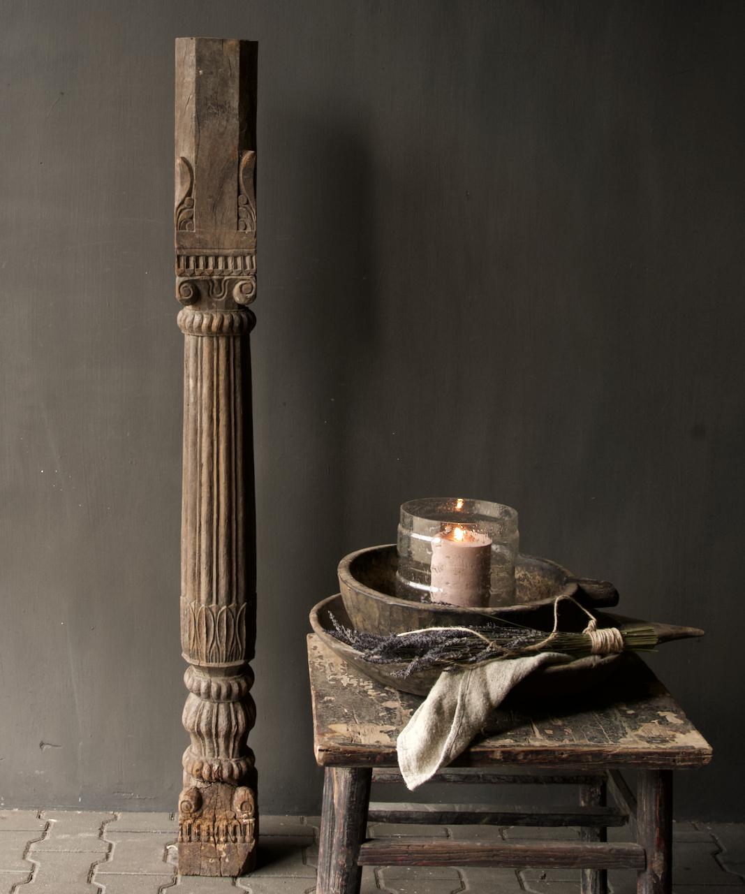Authentieke Indisch Houten pilaar-1