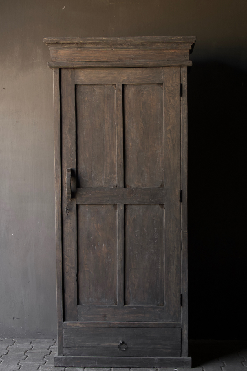 Sturdy solid door cabinet made of old wood with a drawer-2