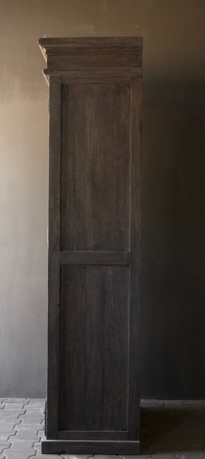 Sturdy solid door cabinet made of old wood with a drawer-4