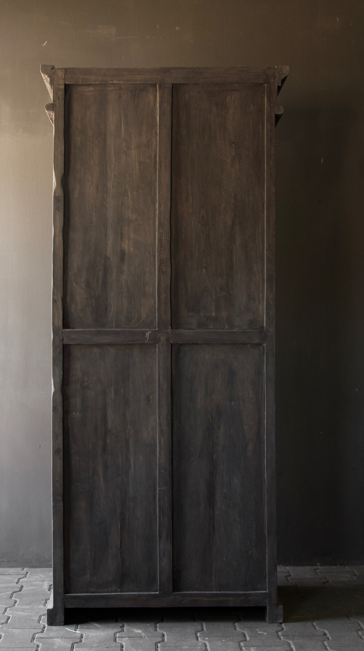 Sturdy solid door cabinet made of old wood with a drawer-5