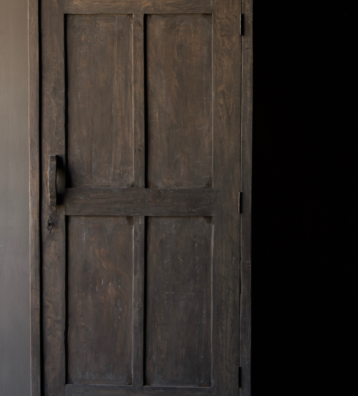 Sturdy solid door cabinet made of old wood with a drawer-8