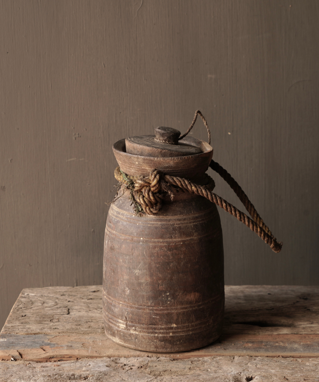Old wooden Nepalese jug with lid-2