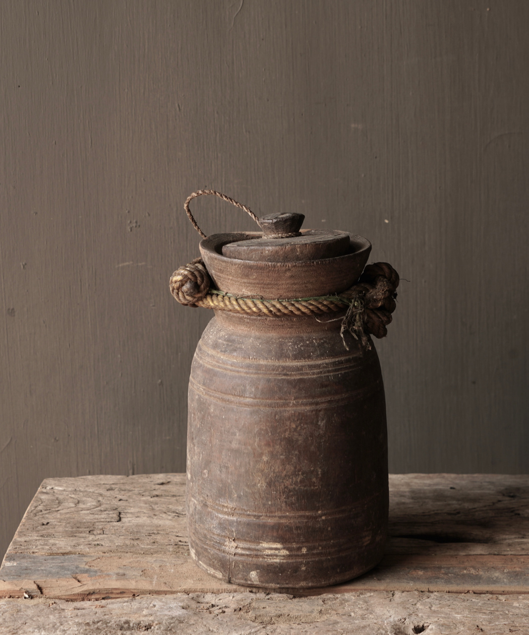 Old wooden Nepalese jug with lid-5