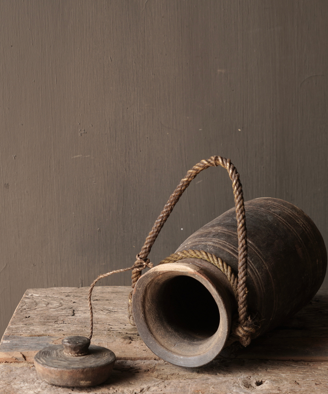 Old wooden Nepalese jug with lid-6