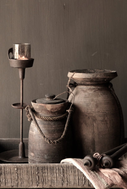 Old wooden Nepalese jug with lid