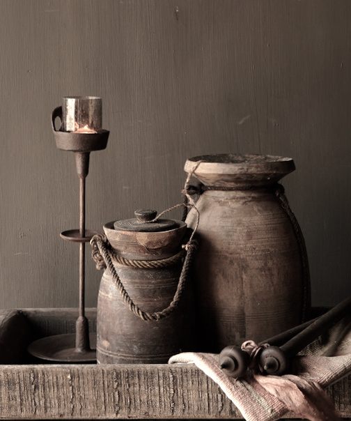 Old wooden Nepalese jug with lid-1