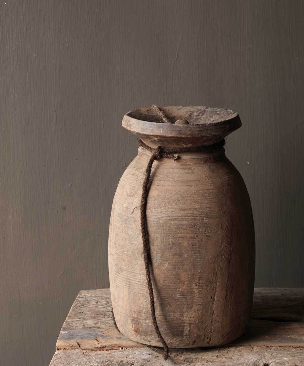 Old wooden Nepalese jug with lid-3