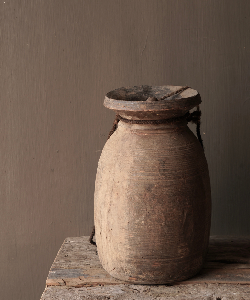 Old wooden Nepalese jug with lid-4