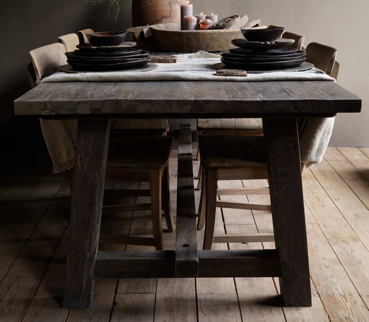 Sturdy robust rural dining room table made of old wood (stable table)-3