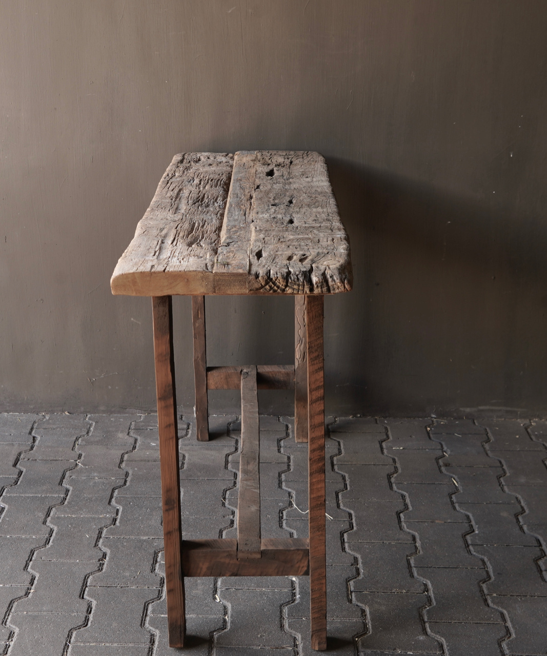 Old wooden side table / wall table. Unique item-5