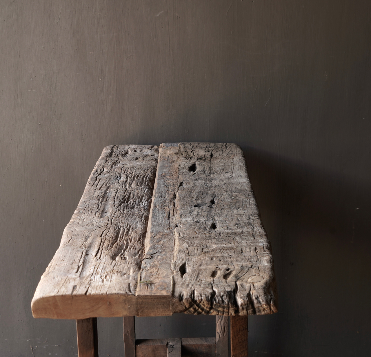 Old wooden side table / wall table. Unique item-6