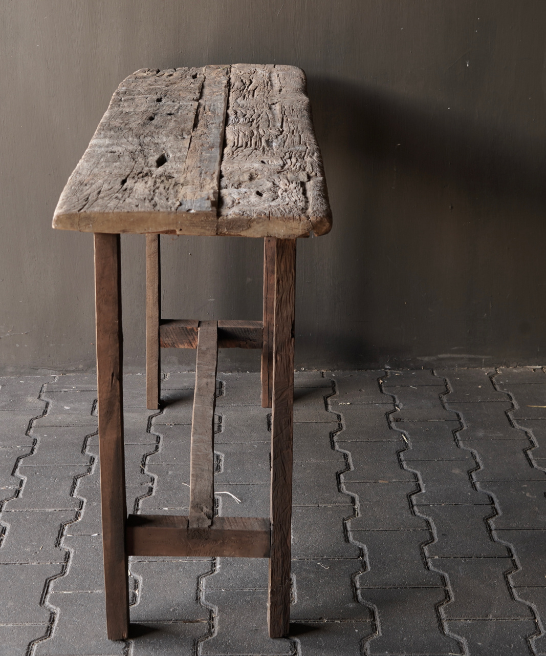 Old wooden side table / wall table. Unique item-7