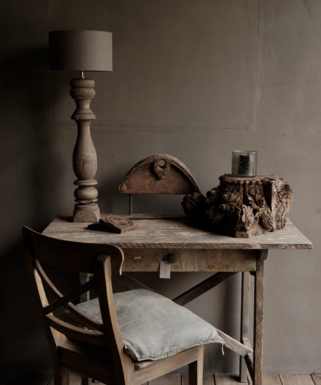 Tough old Sidetable / wall table old wood with a drawer-1