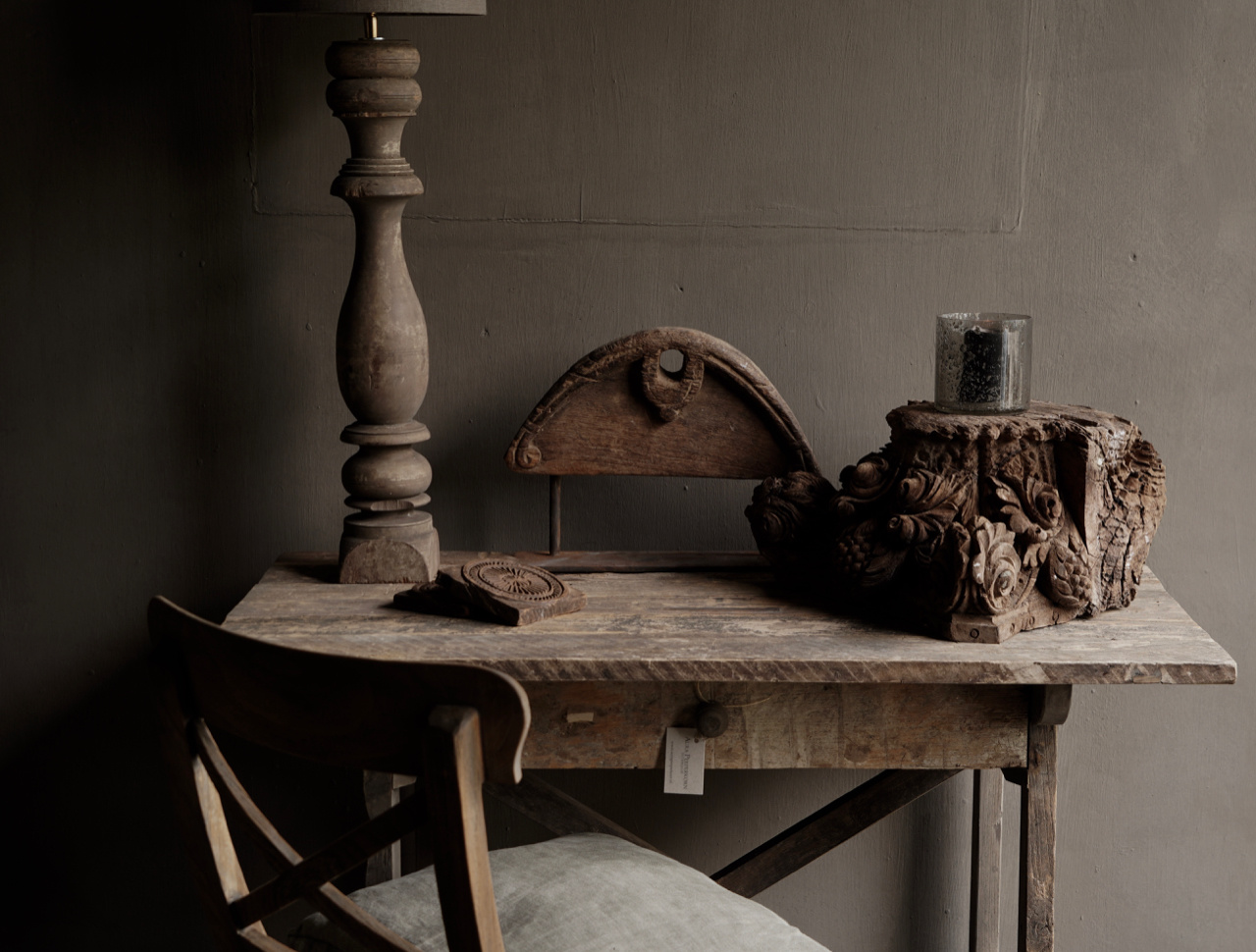 Tough old Sidetable / wall table old wood with a drawer-2