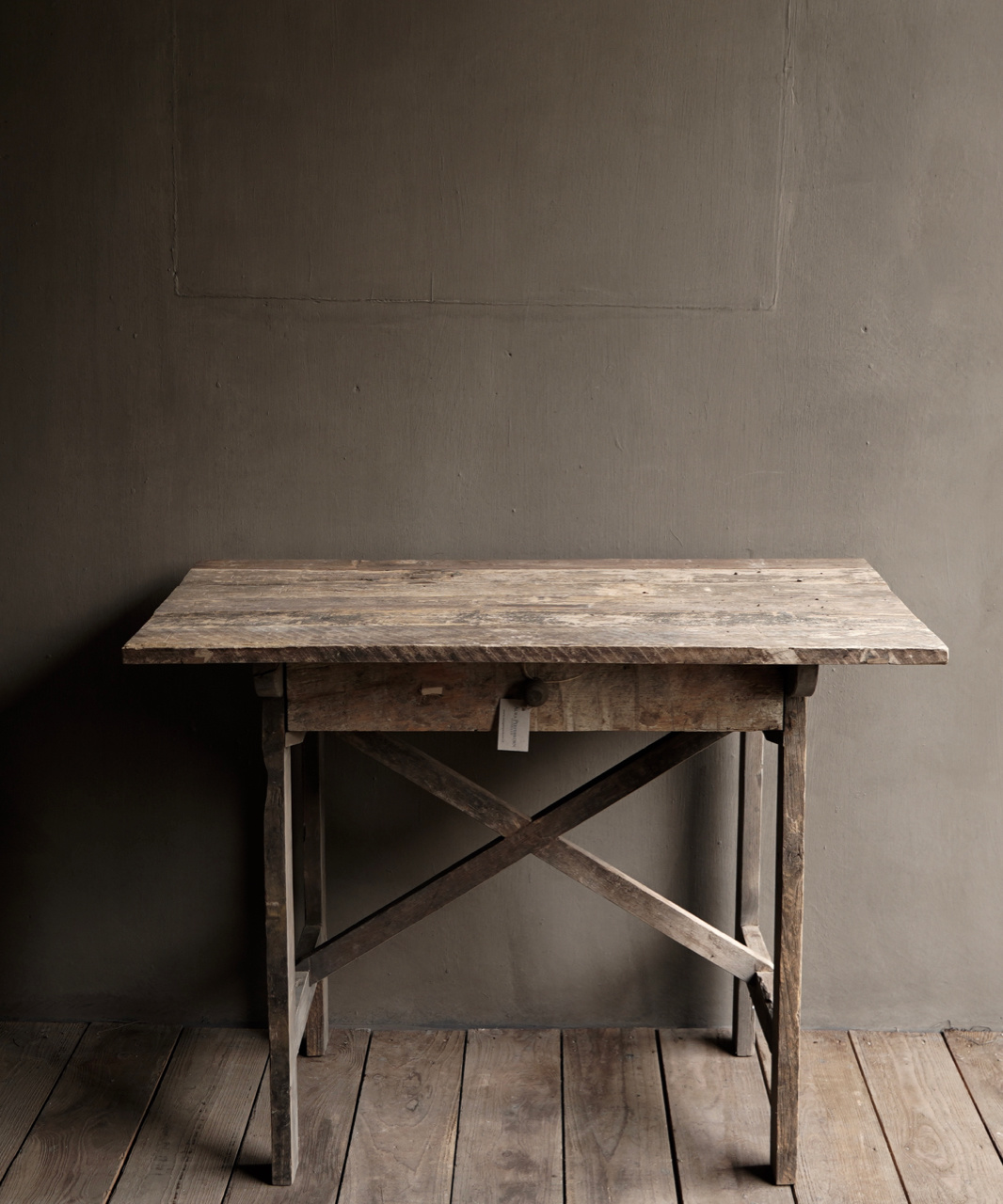 Tough old Sidetable / wall table old wood with a drawer-3