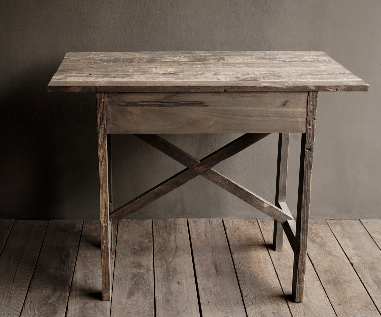 Tough old Sidetable / wall table old wood with a drawer-5
