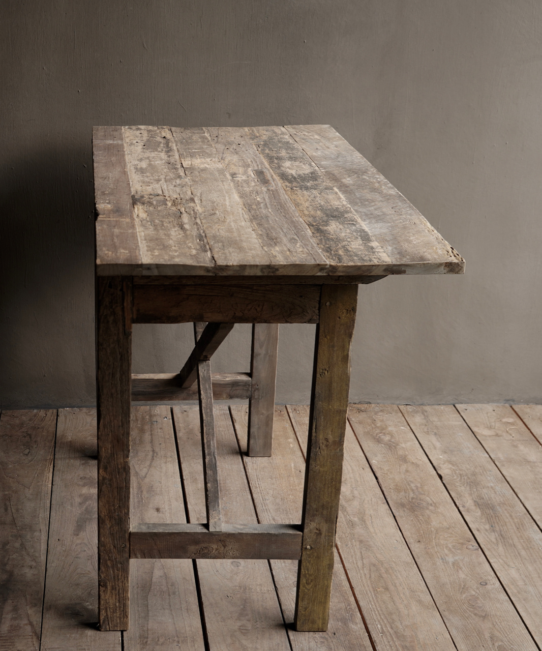 Tough old Sidetable / wall table old wood with a drawer-6