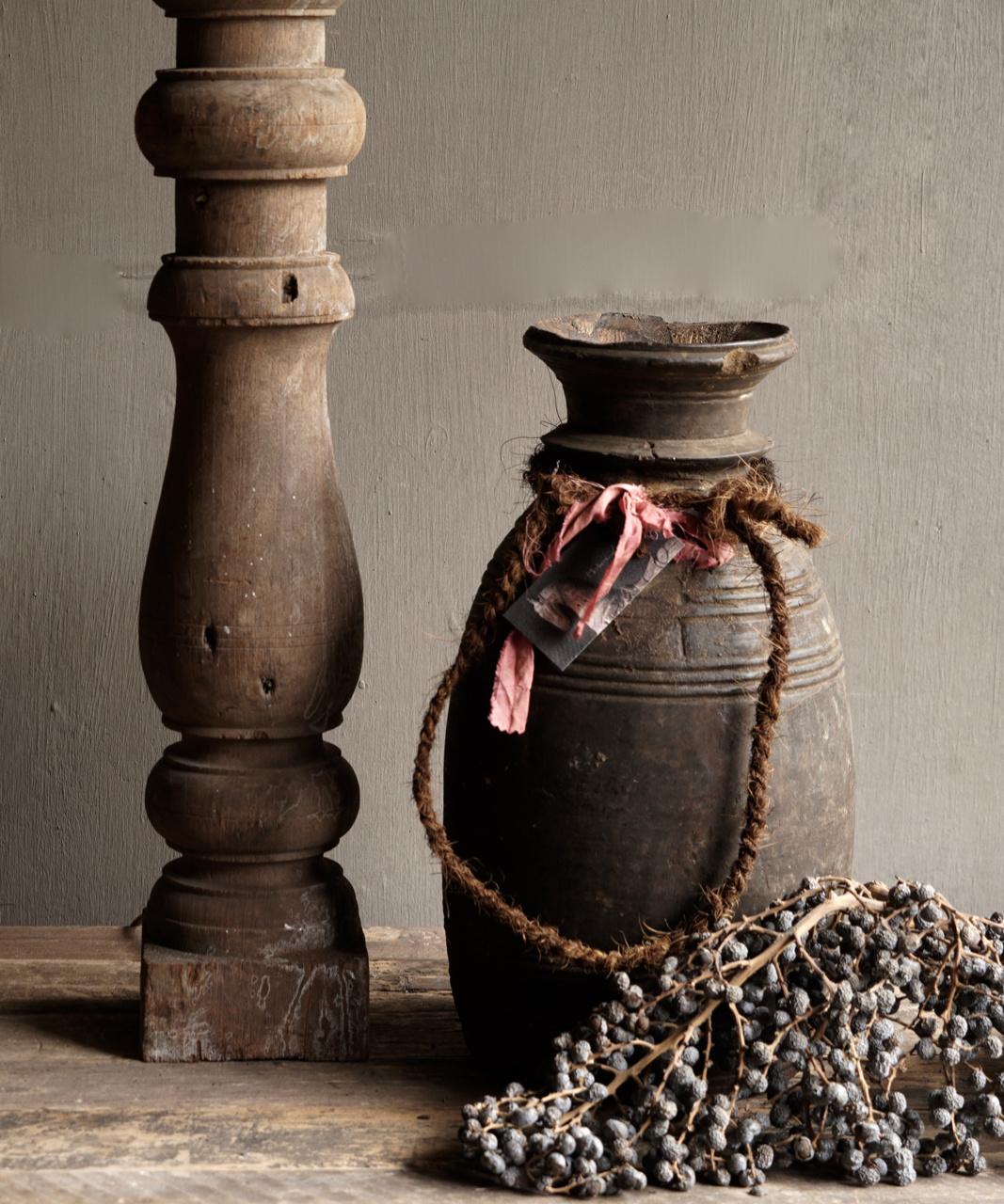 Beautiful Old Wooden Baluster lamp base-2