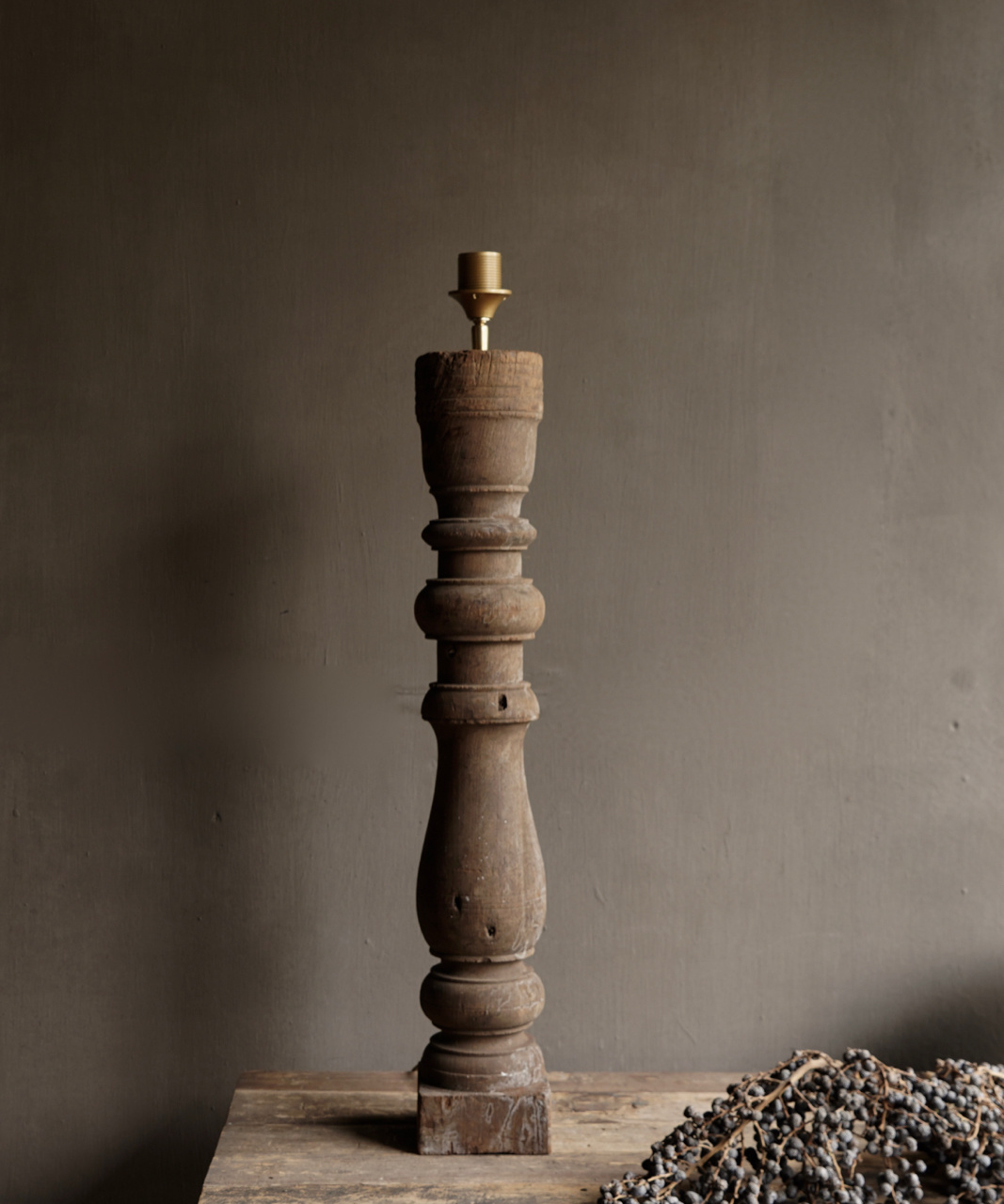 Beautiful Old Wooden Baluster lamp base-3