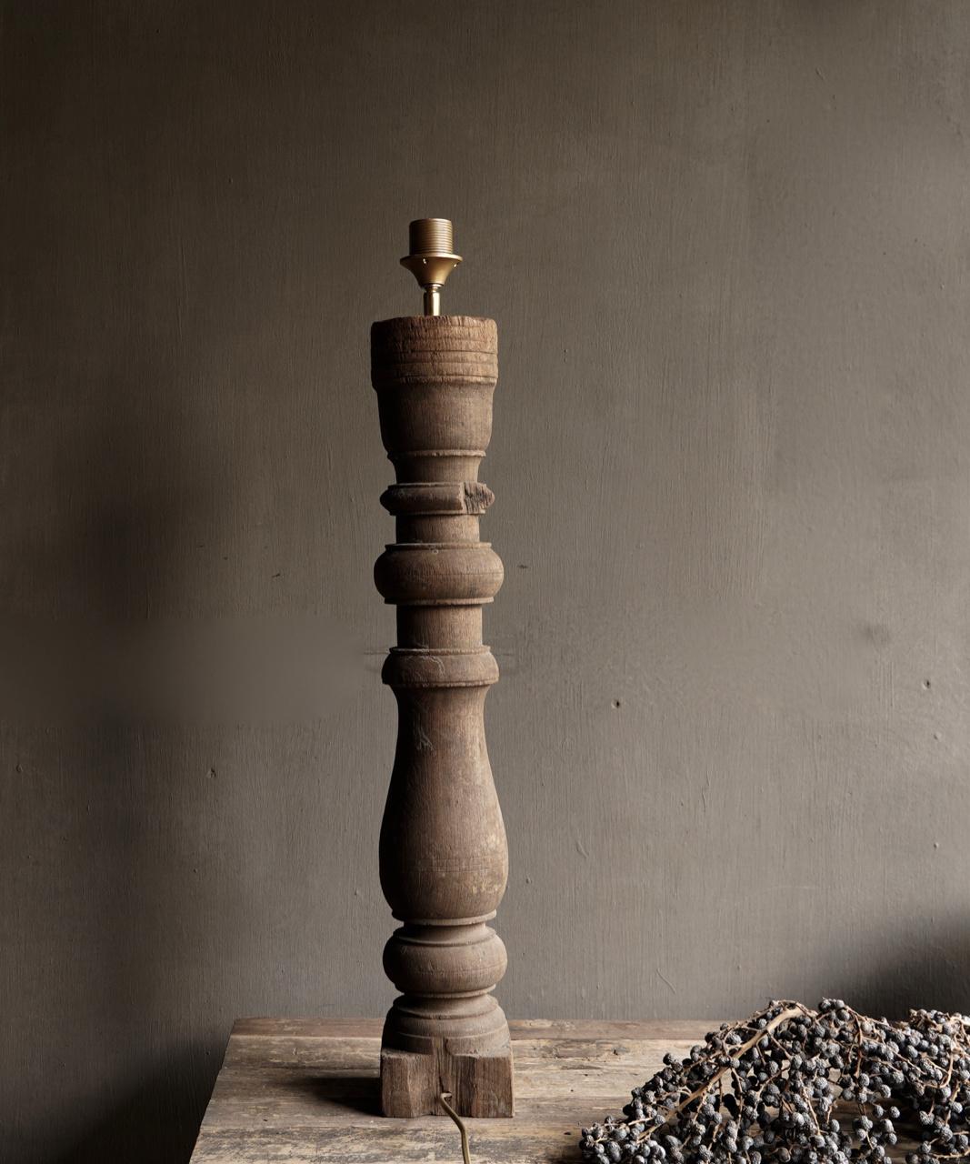Beautiful Old Wooden Baluster lamp base-4