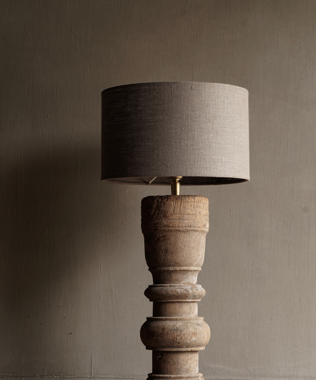 Beautiful Old Wooden Baluster lamp base-7