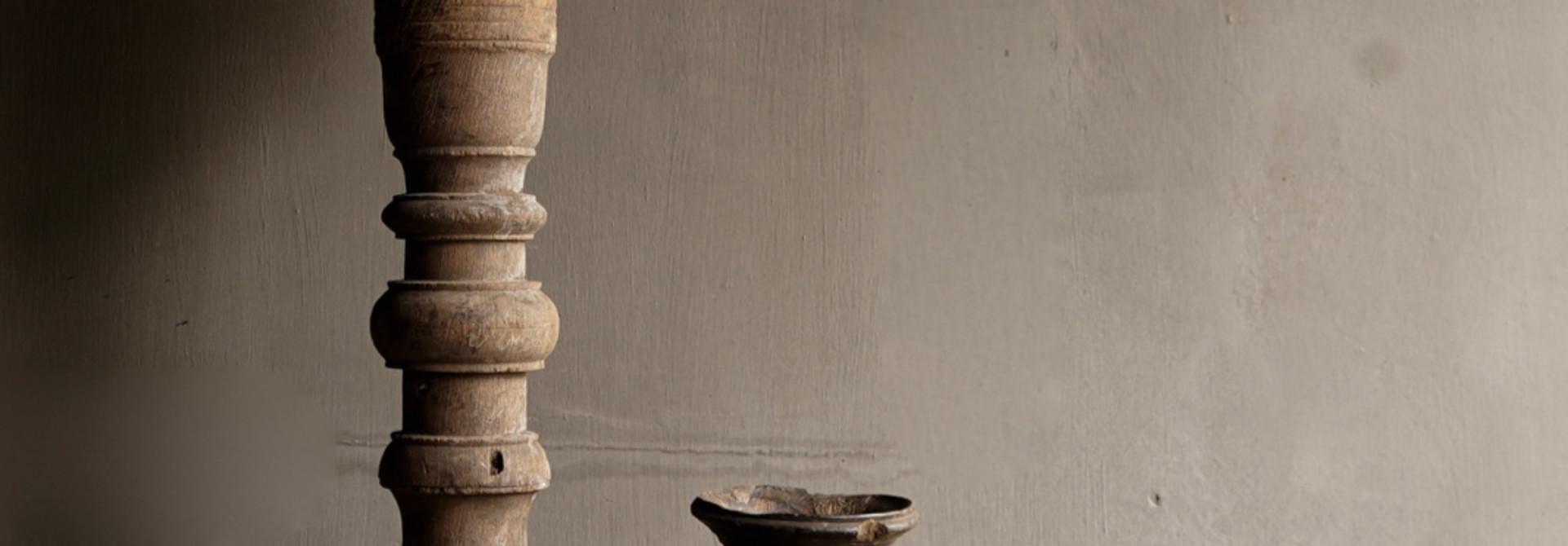 Beautiful Old Wooden Baluster lamp base