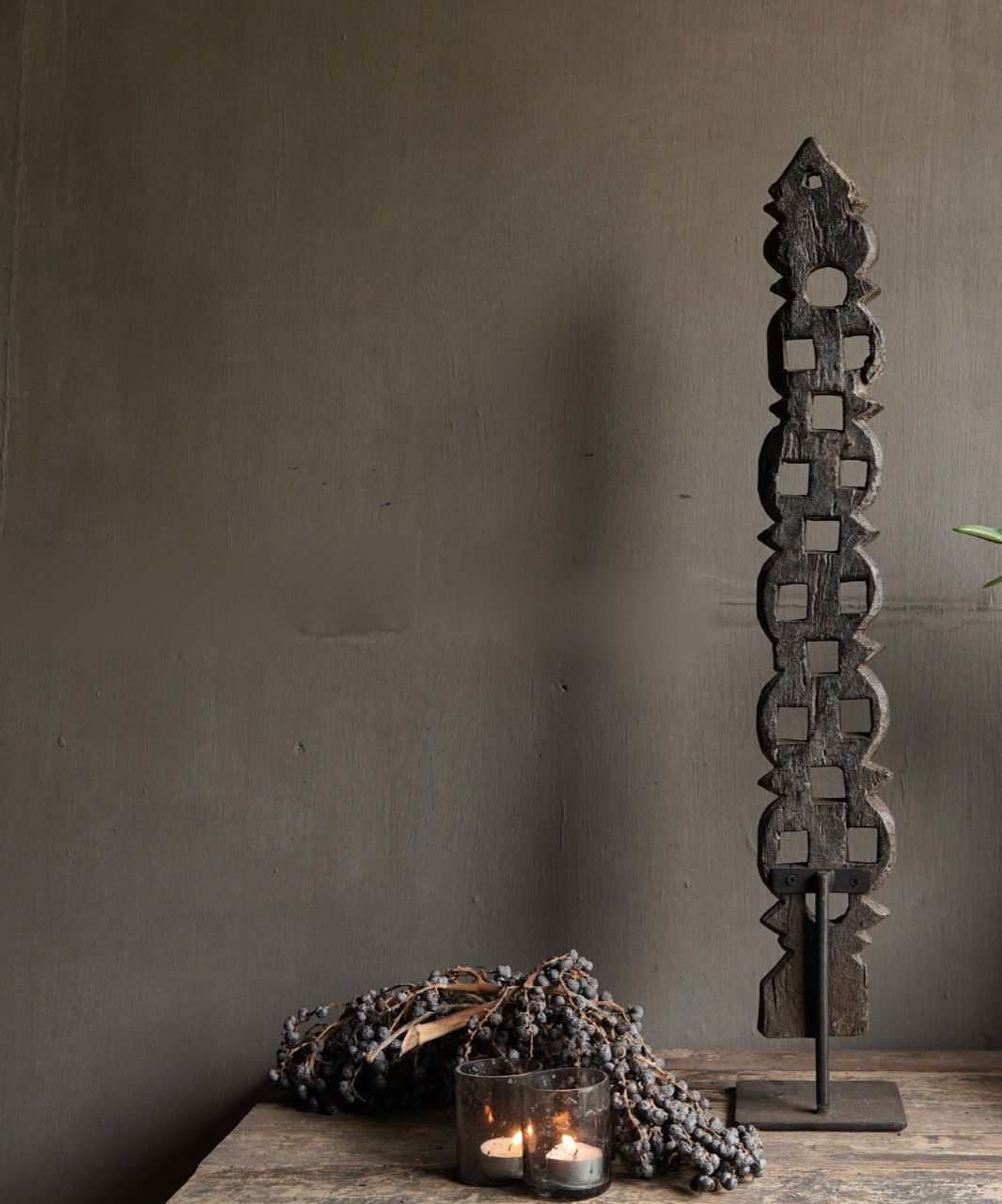 Wooden ornament on iron stand-5