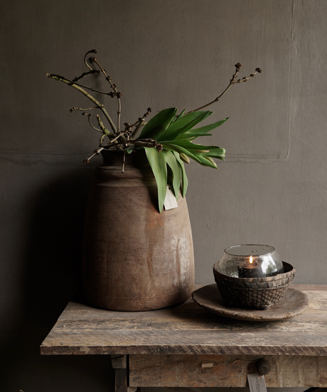 Old wooden Nepalese jug-1