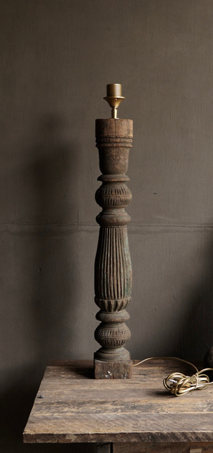 Beautiful Old Wooden Baluster lamp base-5