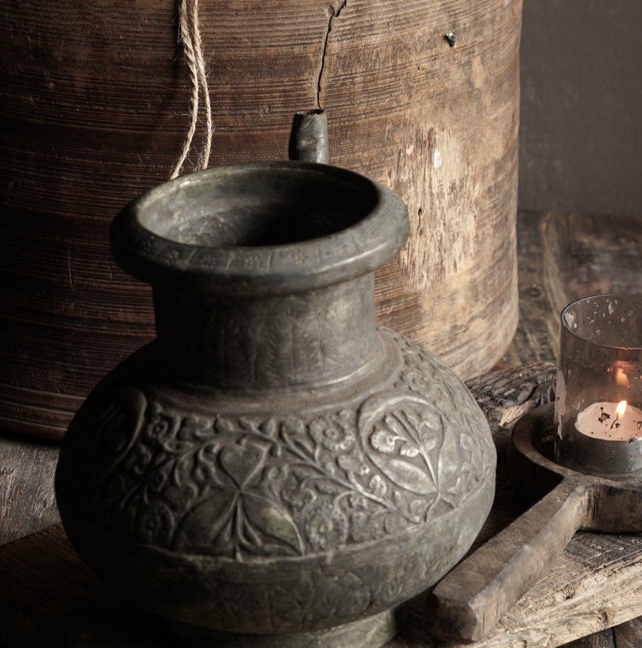 Osmanischer antiker Krug aus Zinn / Kupfer-5