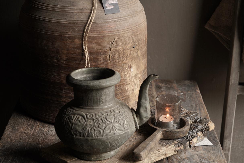 Osmanischer antiker Krug aus Zinn / Kupfer-6