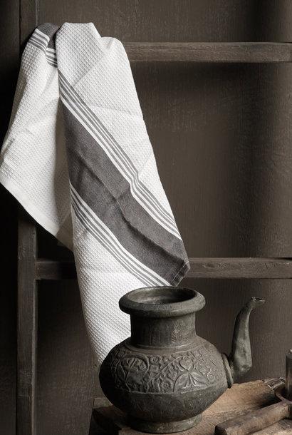 Grau / Weißes Waffeltuch Geschirrtuch Küchentuch