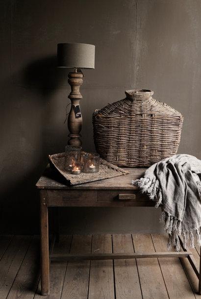 Laag Stoer Antiek oud houten muurtafeltje met een lade