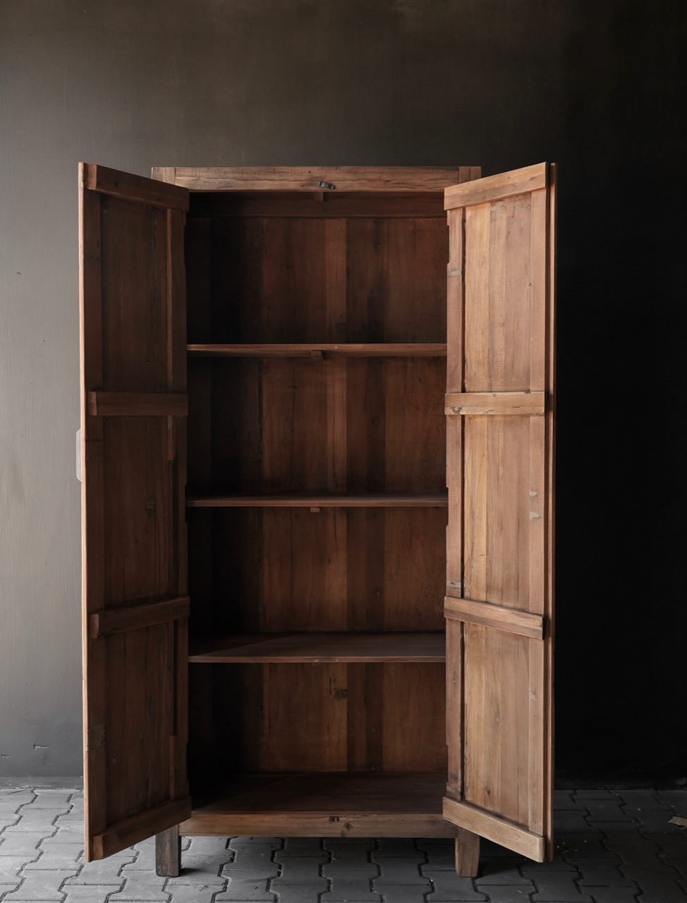 Beautiful sturdy old wooden two-door closed cabinet-3