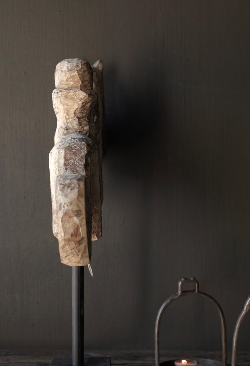 Oud Uniek houten paard op ijzeren standaard-3