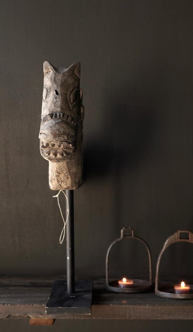 Oud Uniek houten paard op ijzeren standaard-4