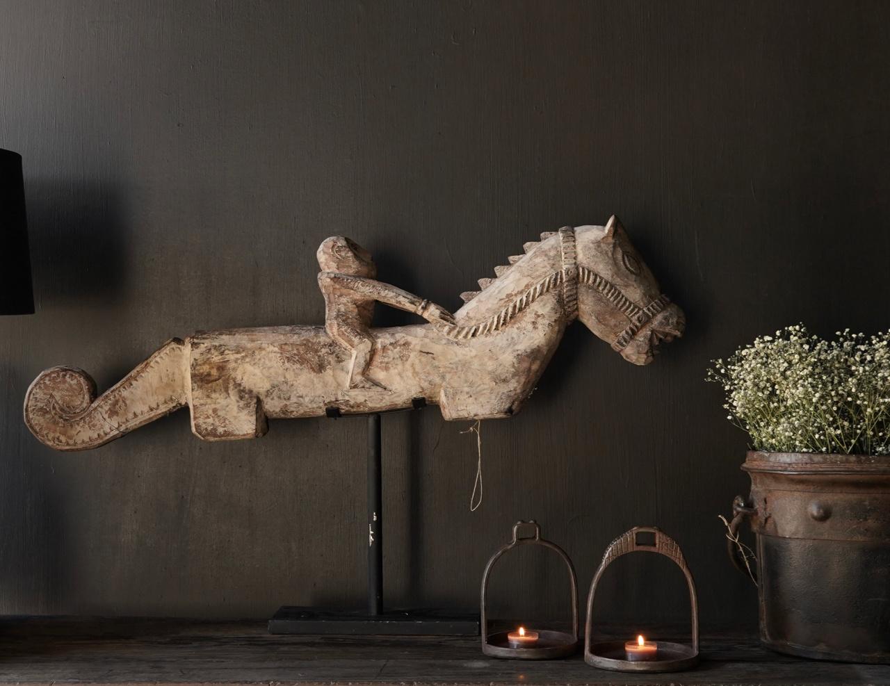 Oud Uniek houten paard op ijzeren standaard-5