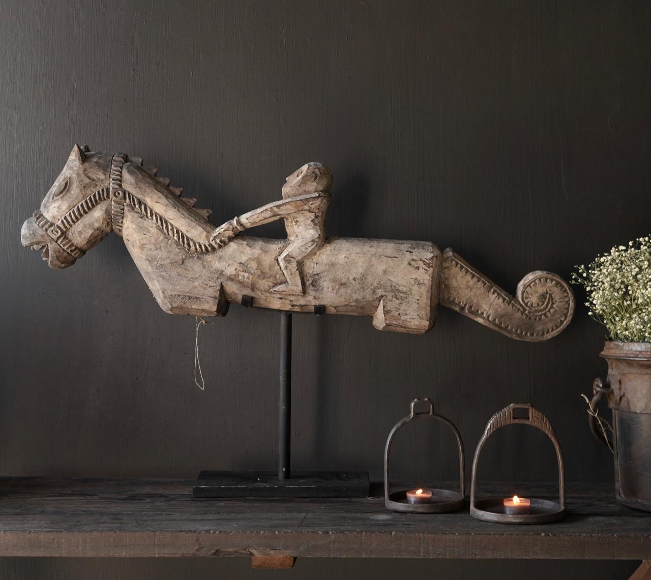 Oud Uniek houten paard op ijzeren standaard-6