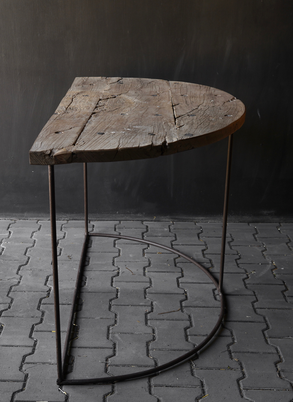 Tough half round wall table Sidetable with iron base-4