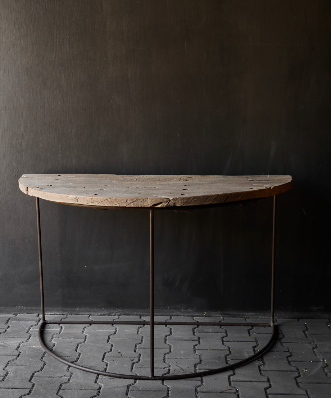 Tough half round wall table Sidetable with iron base-6
