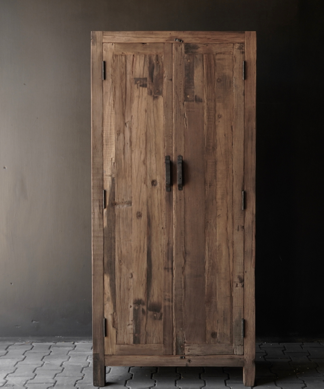 Beautiful sturdy old wooden two-door closed cabinet-1