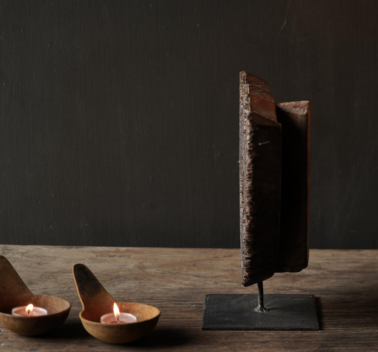 Houten batik stempel op ijzeren voetje-5
