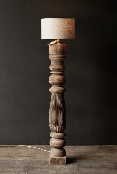 Old Wooden Baluster lamp base