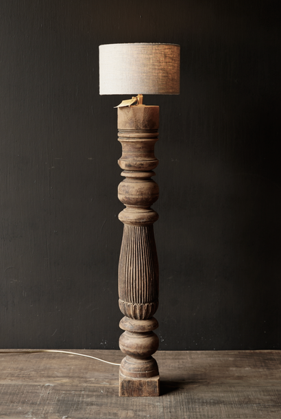 Oude Houten Baluster lamp voet