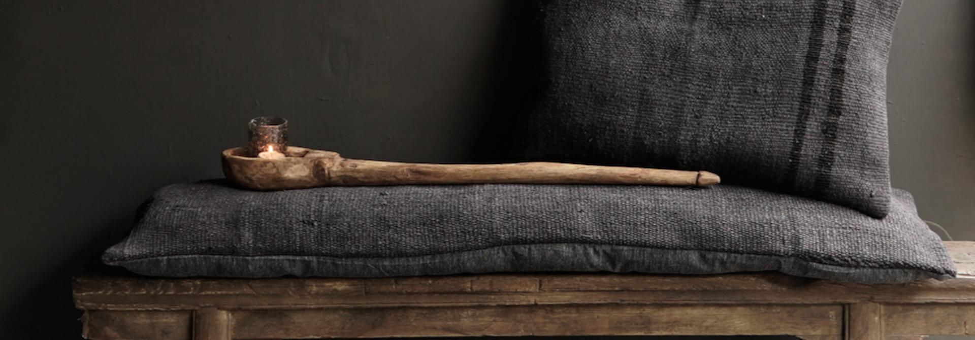 Beautiful cool long black hemp cushion