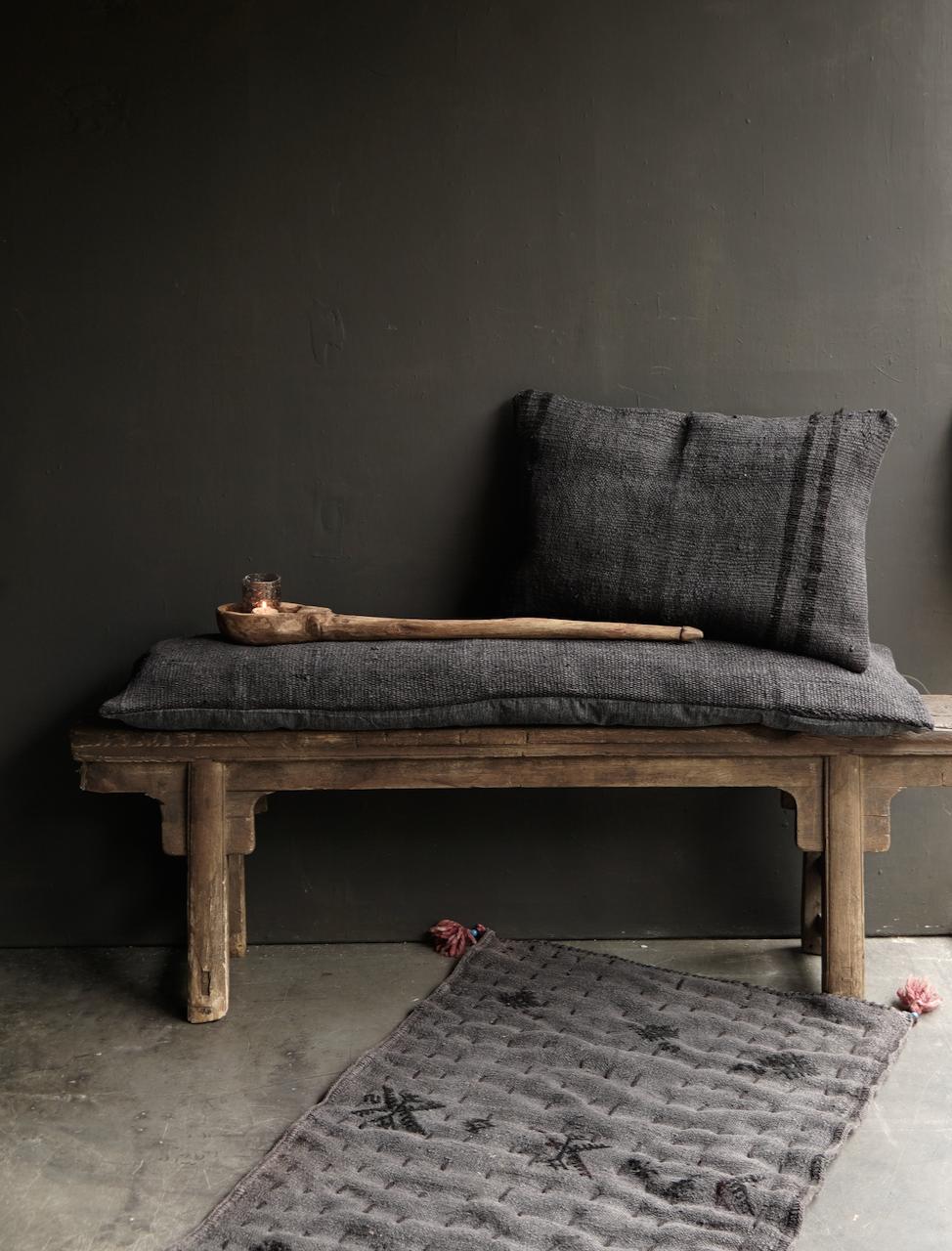 Beautiful cool long black hemp cushion-1